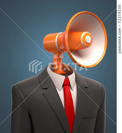 Bussinessman with loudspeaker instead of head 72259100