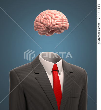 Businessman with a brain instead of the head 72259114