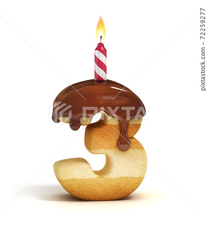 Birthday cake font number 3 72259277