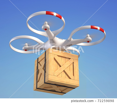 Drone with wooden crate in the sky 72259898