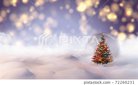 The Snow Globe with Christmas tree decorated with christmas lights inside it. 3d illustration 72260231