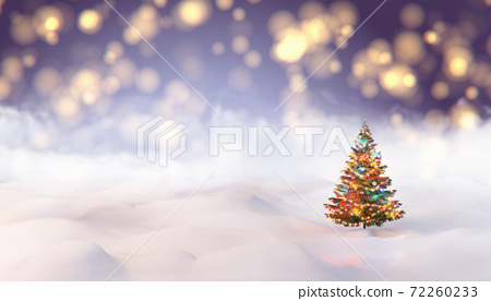 The Snow Globe with Christmas tree decorated with christmas lights inside it. 3d illustration 72260233