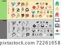 조디악 동물 아이콘과 새해 액세서리 아이템 세트. 72261658