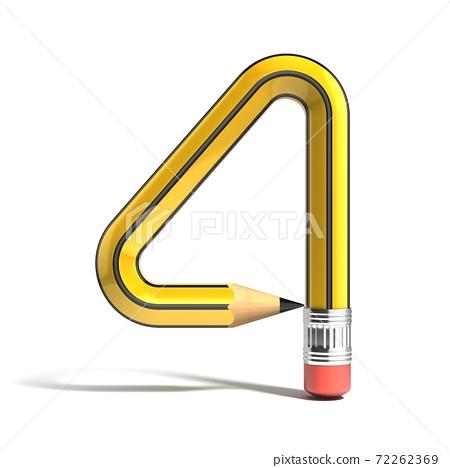 pencil 3d font number 4 72262369