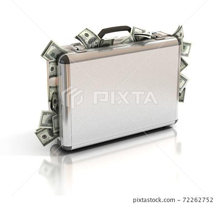 briefcase full of money 3d rendering 72262752