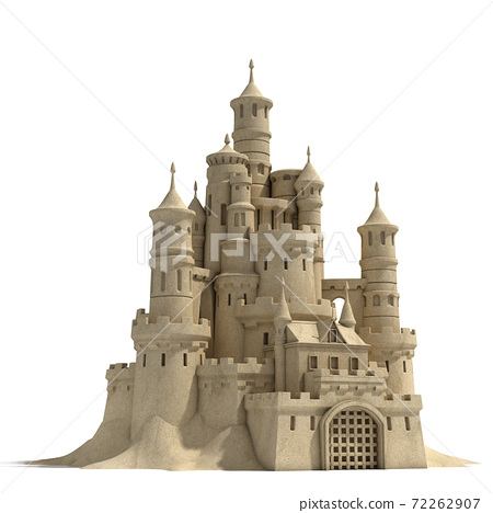 sand castle isolated on white background 72262907