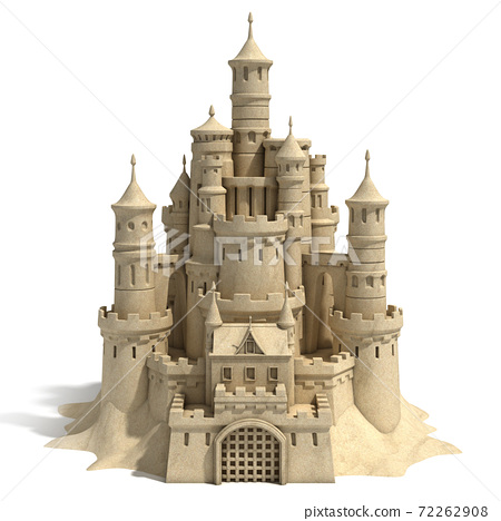 sand castle isolated on white background 72262908