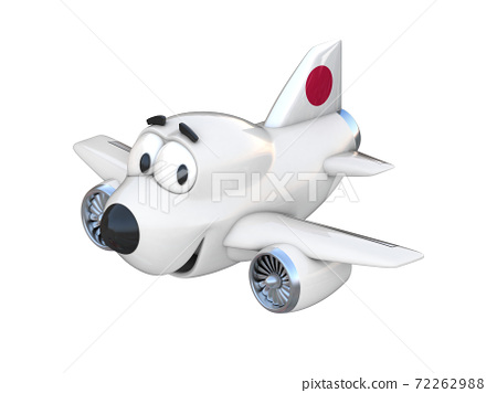 Cartoon airplane with a smiling face - Japan flag 72262988