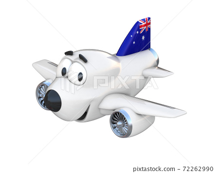Cartoon airplane with a smiling face - Australian flag 72262990