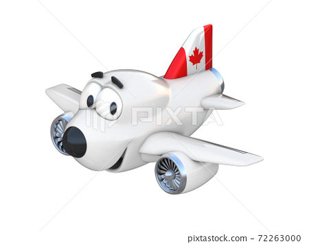 Cartoon airplane with a smiling face - Canadian flag 72263000