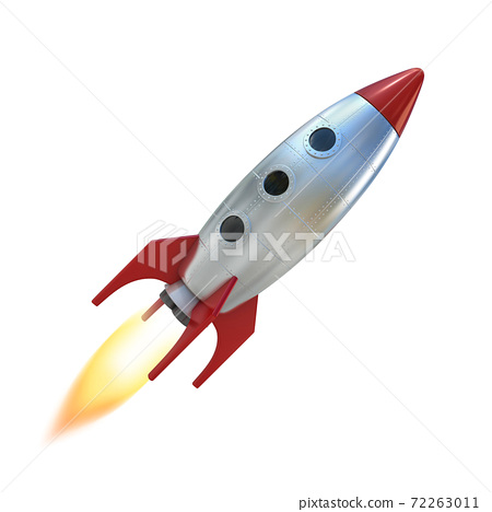 cartoon rocket space ship 3d rendering 72263011