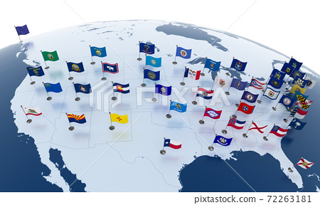 Flags of the U.S. states on American continent 72263181