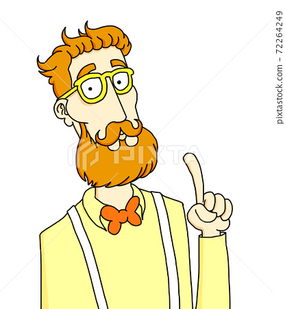 Cartoon illustration of a red-haired hipster with suspenders and bow tie showing his index finger 72264249
