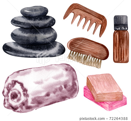 Set of spa objects, natural stones, bath salt, soap, candkes, water droplets. watercolor illustration 72264388