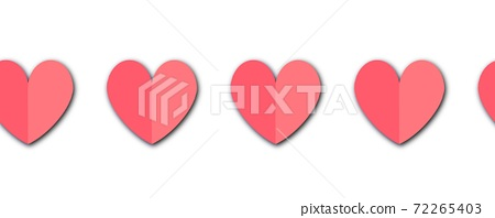 Paper hearts seamless border. Repeating pattern with paper cut style folded heart shapes. Red pink 72265403
