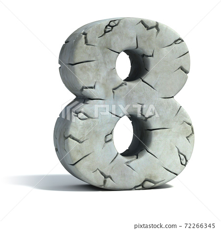 cracked stone 3d font number 8 72266345