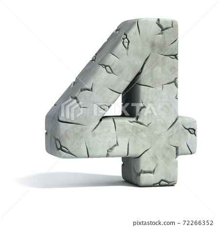 cracked stone 3d font number 4 72266352