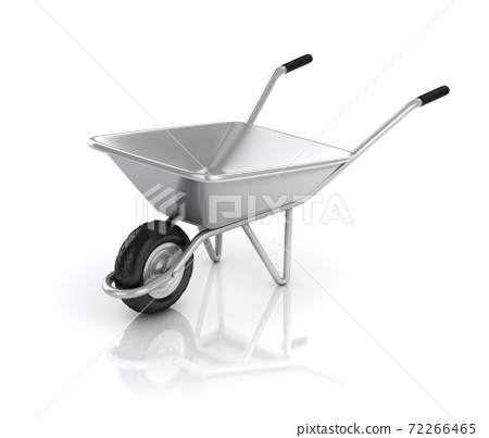 3d wheel barrow isolated on the white background 72266465