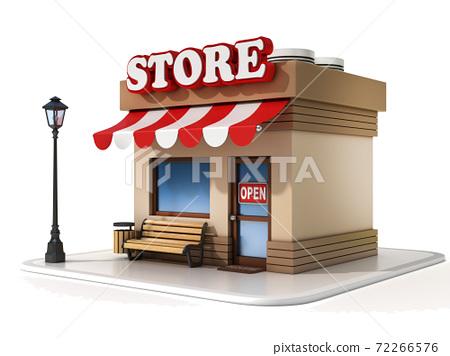 miniature store on white background 3d illustration 72266576