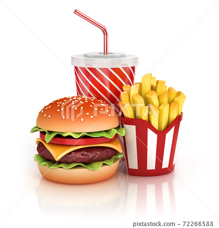fast food hamburger, fries and soft drink 3d illustration 72266588