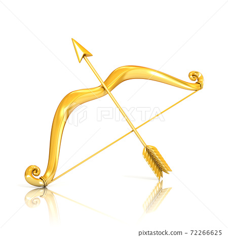 Golden bow and arrow isolated on white background 3d rendering 72266625