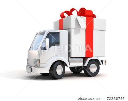 truck with gift box 3d illustration 72266785