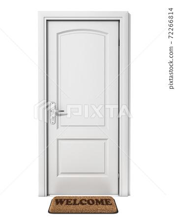 white door with welcome doormat 72266814