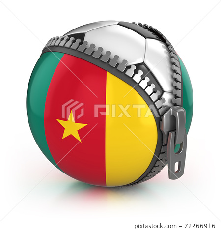 Cameroon football nation - football in the unzipped bag with Cameroon flag print 72266916