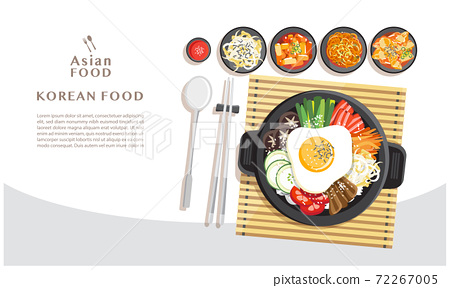 Korean cuisine Bibimbap, Rice mixing with various ingredients in black bowl top view vector illustration 72267005