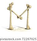 bones 3d font letter M 72267025