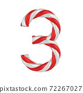 christmas candy cane font - number 3 72267027