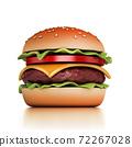 hamburger on white background 3d illustration 72267028