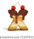cake 3d font letter X 72267032
