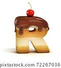 cake 3d font letter R 72267036