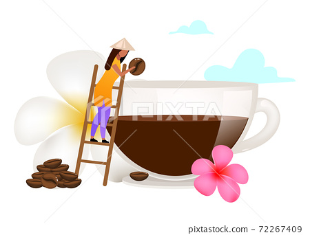 Small family coffee business flat vector illustration 72267409