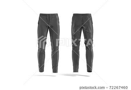 Blank black sport pants mock up, front and back view 72267460