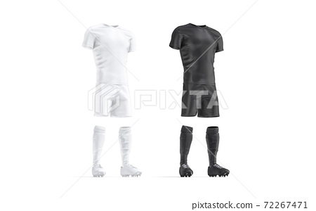 Blank black and white soccer uniform mockup set, side view 72267471