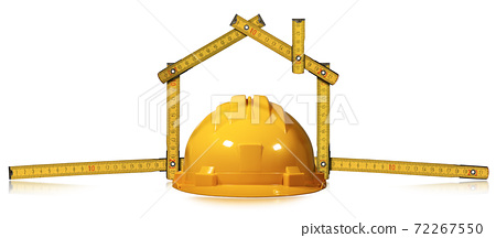 Folding Ruler in the Shape of House and Yellow Work Helmet 72267550
