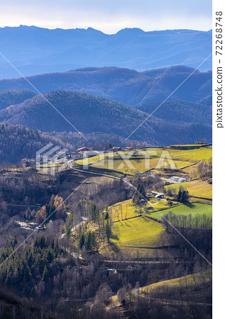Nice hills in spanish Pyrenees mountain in a winter day like autumnal. 72268748