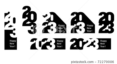 Merry Christmas and Happy New Year 2023 background in typographical style, card. 72270086