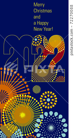 Merry Christmas and Happy New Year 2022 background in typographical style, card. 72270088
