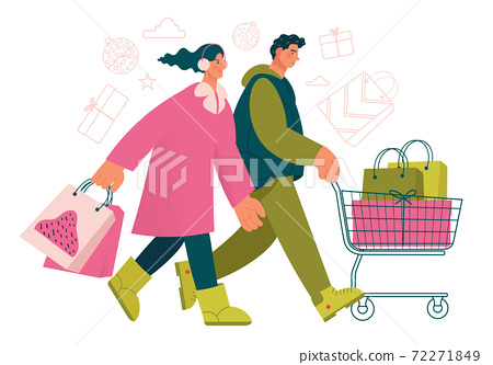 Group of stylish people going with shopping cart to by gifts on New Year or Christmas. 72271849