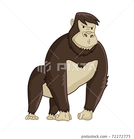 Cute funny monkey colorful cartoon illustration. Vector little chimpanzee. Wildlife character. Great ape stands 72272775