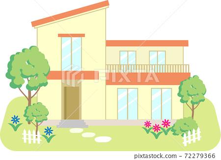 帶紅色屋頂花園的獨立式住宅 72279366
