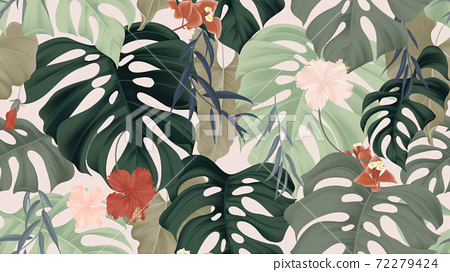 Floral seamless pattern, tropical plants 72279424