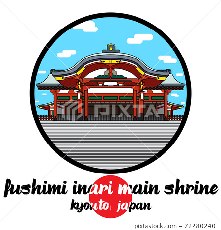 Circle Icon fushimi inari main shrine. vector illustration 72280240