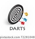 Darts game illustration in isometric 72281048