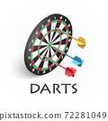 Darts game illustration in isometric 72281049