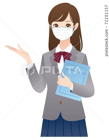 마스크를 한 여학생 설명 72281157