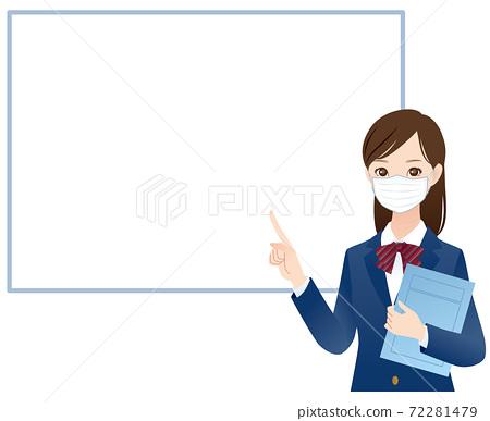 戴口罩的女學生描述複製空間 72281479